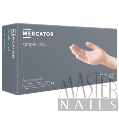 Gumikesztyű / Vinil Clear Púdermentes / M-es méret 100 db-os / Mercator