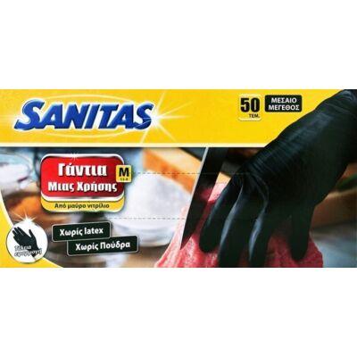 Gumikesztyű / Nitril Fekete M-es méret 50 db-os / Sanitas