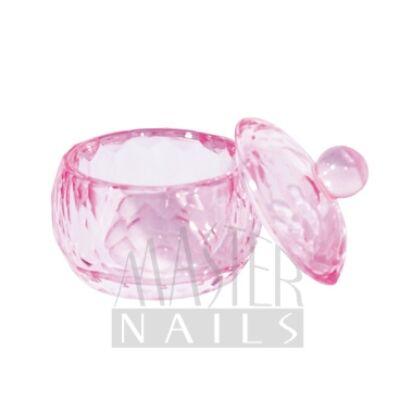 Üveg tégely tetővel / Pink kerek