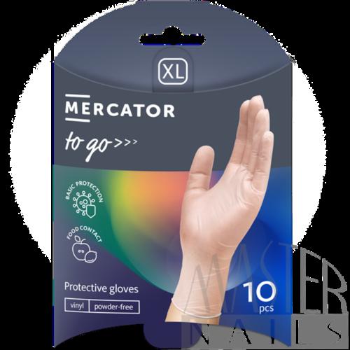 Gumikesztyű 10 db. / Mercator-To-Go / Vinil XL-es méret.