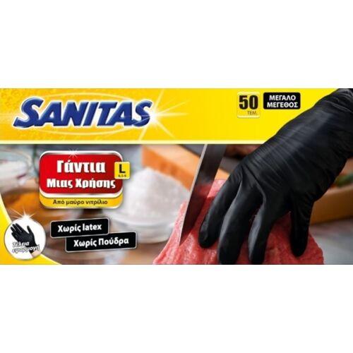 Gumikesztyű / Nitril Fekete L-es méret 50 db-os / Sanitas