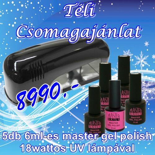 Téli 9watt SZETT (1 db. 9 wattos UV lámpa és 5 db. MN 6 ml Gel Polish)